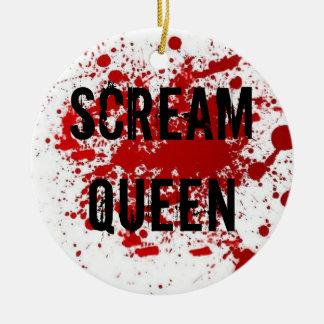 Reina del grito adorno navideño redondo de cerámica
