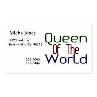 Reina del mundo tarjetas de visita
