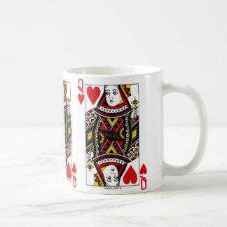 Reina del naipe de los corazones taza de café