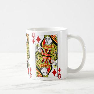 Reina del naipe de los diamantes taza de café