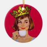 Reina del ornamento del café adorno redondo de cerámica
