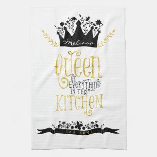 Reina del oro y del negro de la cocina el   toallas de mano