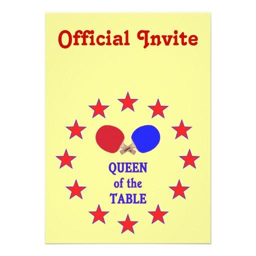 Reina del ping-pong de la tabla comunicado personalizado