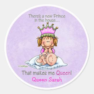 Reina del príncipe - hermana grande pegatina redonda