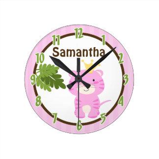 Reina del reloj personalizado tigre del rosa de la