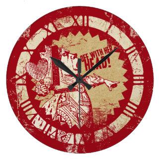 Reina del rojo del vintage de Alicia Reloj Redondo Grande