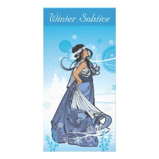 Reina del solsticio de invierno tarjeta con foto personalizada