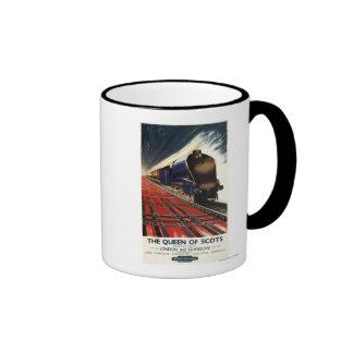 Reina del tren escocés del pullman tazas de café