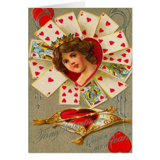 Reina del vintage de corazones tarjetón