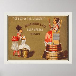 Reina del vintage del anuncio del jabón de póster