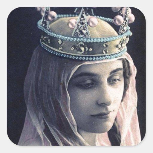 Reina del vintage pegatina cuadrada