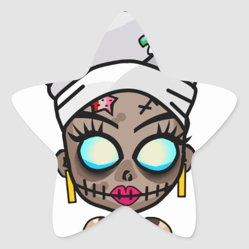 Reina del vudú pegatina en forma de estrella