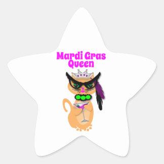 Reina divertida del gato del gatito del carnaval calcomanía forma de estrella personalizadas