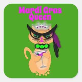 Reina divertida del gato del gatito del carnaval pegatinas