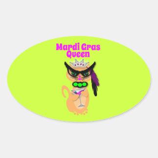 Reina divertida del gato del gatito del carnaval calcomanía de óval personalizadas