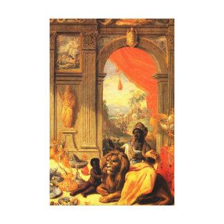 Reina e hijo africanos con el león en palacio lienzo envuelto para galerias