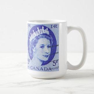 Reina Elizabeth Canadá del vintage Taza Básica Blanca