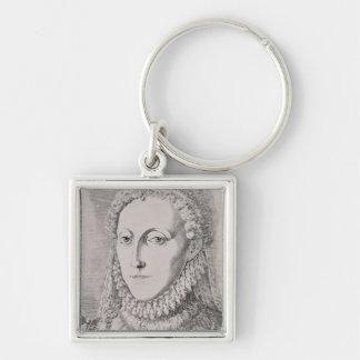 Reina Elizabeth I (1533-1603), c.1572-75 (engravin Llavero Cuadrado Plateado
