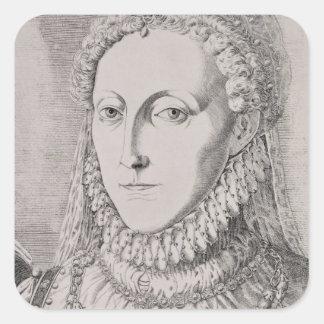 Reina Elizabeth I (1533-1603), c.1572-75 (engravin Pegatina Cuadrada