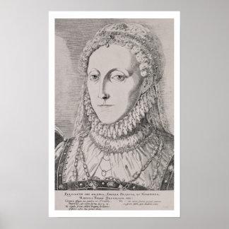 Reina Elizabeth I (1533-1603), c.1572-75 (engravin Póster