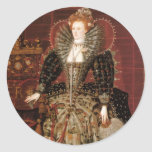 Reina Elizabeth I de Inglaterra Etiquetas Redondas
