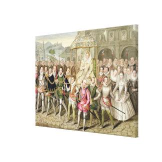 Reina Elizabeth I en la procesión con sus cortesan Impresiones En Lona