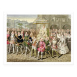 Reina Elizabeth I en la procesión con sus cortesan Postal