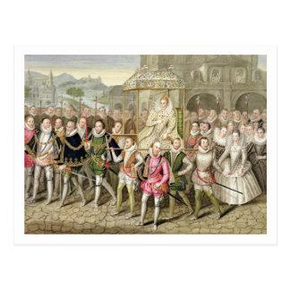 Reina Elizabeth I en la procesión con sus Postal