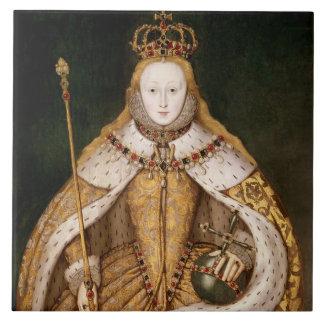 Reina Elizabeth I en trajes de la coronación Azulejo