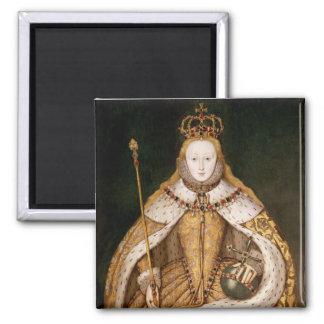 Reina Elizabeth I en trajes de la coronación Imán Cuadrado