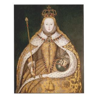 Reina Elizabeth I en trajes de la coronación Impresión En Madera
