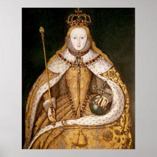 Reina Elizabeth I en trajes de la coronación Posters