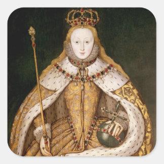 Reina Elizabeth I en trajes de la coronación Pegatina Cuadrada