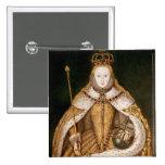 Reina Elizabeth I en trajes de la coronación Pin Cuadrada 5 Cm