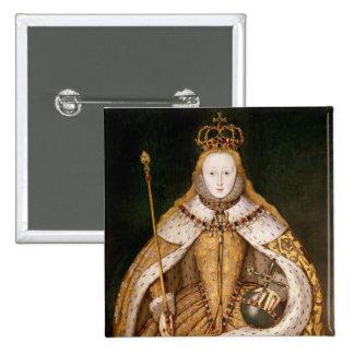 Reina Elizabeth I en trajes de la coronación Pin Cuadrado