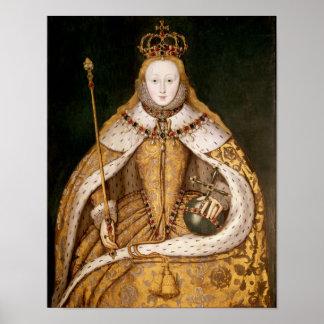Reina Elizabeth I en trajes de la coronación Póster