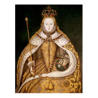 Reina Elizabeth I en trajes de la coronación Postal