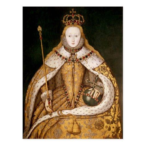 Reina Elizabeth I en trajes de la coronación Tarjeta Postal