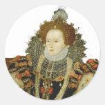 Reina Elizabeth I Etiquetas Redondas