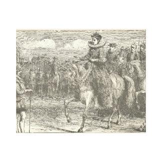 Reina Elizabeth I que revisa a sus tropas en el Lienzo Envuelto Para Galerias