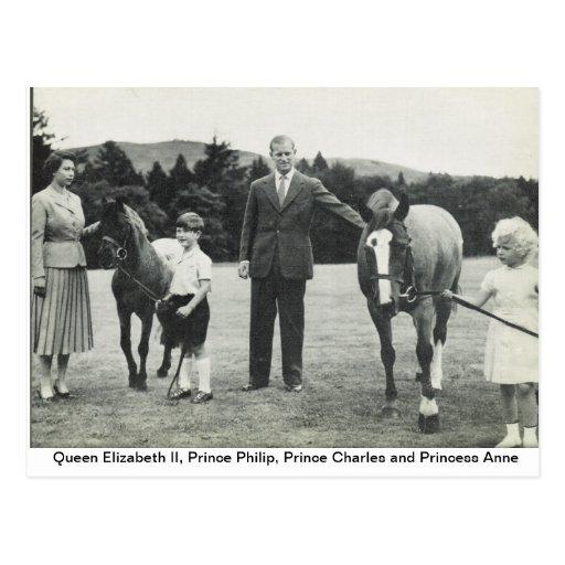 Reina Elizabeth II, príncipe Philip, Charles, Anne Tarjetas Postales