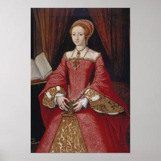 Reina Elizabeth la primera impresión del retrato Póster