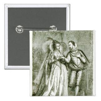 Reina Elizabeth y sus pretendientes Pin Cuadrada 5 Cm