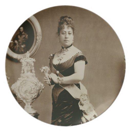 Reina Emma (1836-85) (fotografía de la sepia) Plato De Cena