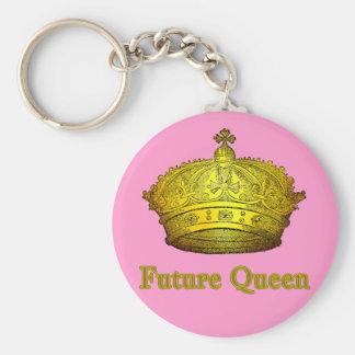 Reina futura con la corona en las camisetas, ropa  llavero redondo tipo pin