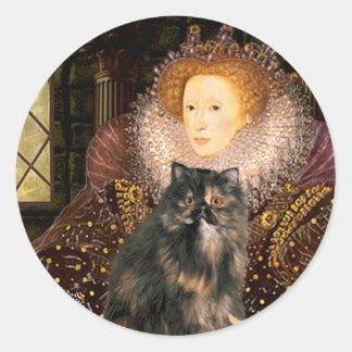 Reina - gato de calicó persa etiqueta redonda