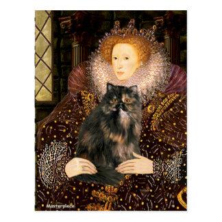 Reina - gato de calicó persa tarjeta postal