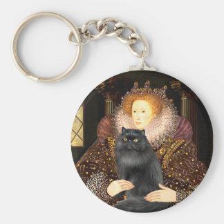 Reina - gato negro de Persiasn Llavero Redondo Tipo Pin