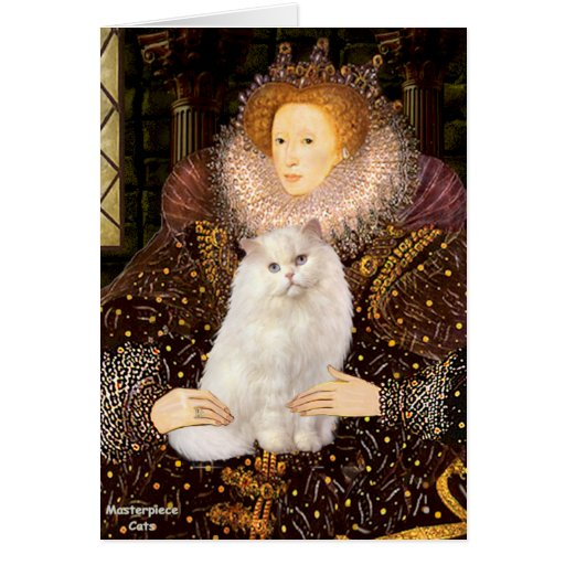 Reina - gato persa blanco tarjeta de felicitación