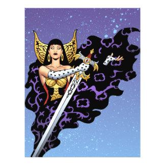"""Reina gótica mágica con la espada enorme por el Al Folleto 8.5"""" X 11"""""""